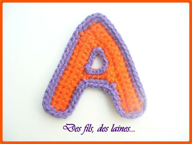 Lettre A déco au crochet, alphabet au crochet, initiales déco crochetées : Autres Tricot et Crochet par des-fils-des-laines