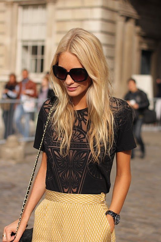 : Black Lace, Hair Colors, Lace Tops, Yellow Skirts, Summer Outfits, Poppies Delevingne, Black Tops, Cut Outs, Summer Clothing