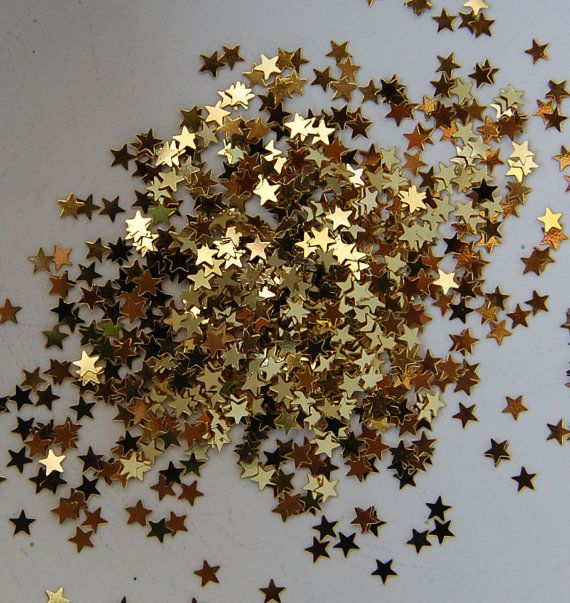 small gold and silver glittery stars | Tiny Gold Metallic Stars Glitter by Theglittersource on Etsy