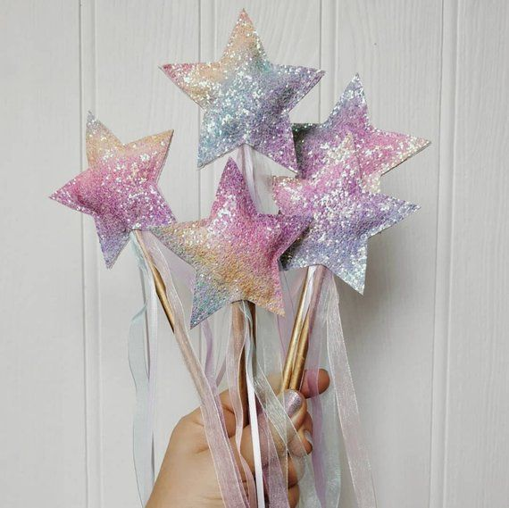 fancy dress accessory FAIRY GLITTER RAINBOW FLOWER PRINCESS FAIRYTALE WAND