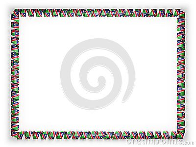 Frame and border of ribbon with the Namibia flag. 3d illustration.