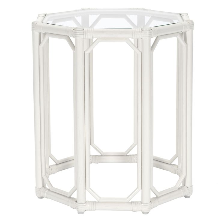 Regeant side table made of rattan and glass - white