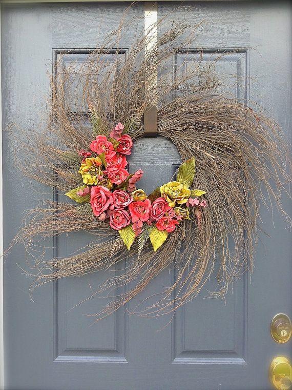 Wispy Twig Wreath  Spring Wreath  Rose Wreath by WreathsByRebeccaB,