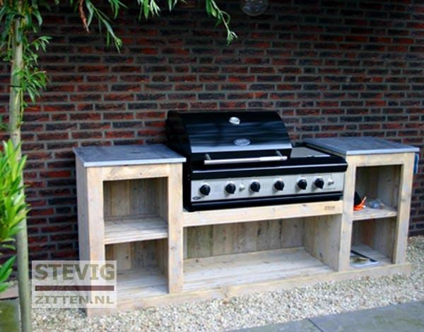 De Steigerhouten Buitenkeuken Compleet met BBQ
