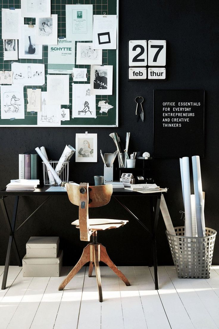 Black and white home office ideas