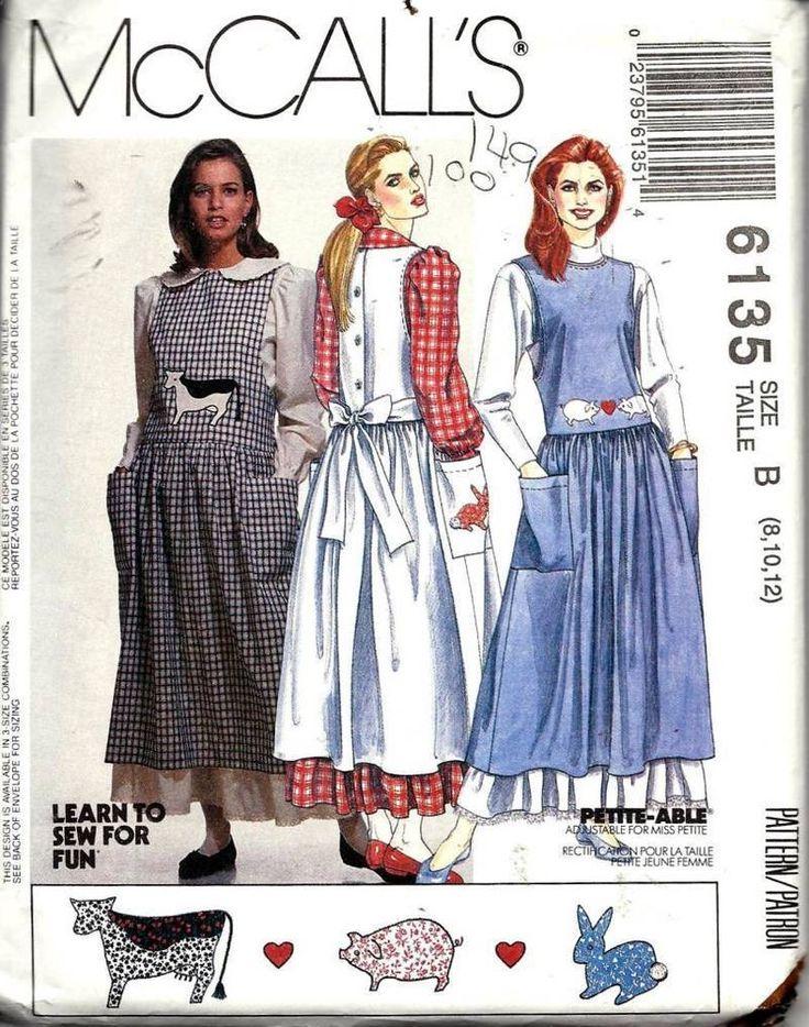Vintage McCall's Jumper Dress Blouse Petticoat & Appliques Pattern 6135 UNC