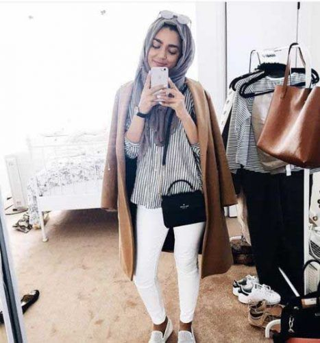 trench-coat-with-striped-shirt-hijab- Ootd hijab styles http://www.justtrendygirls.com/ootd-hijab-styles/