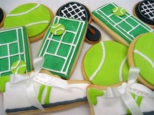 Tennis ball, racquet and court biscuits
