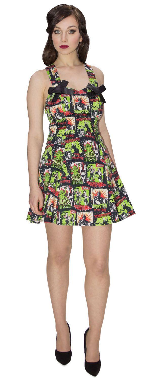 Nightmare Horror Dress, highlightling Zombie Chase, Lake Monster, Alien Invasion, Nosferatu the Vampire, Alternative X Black Dress