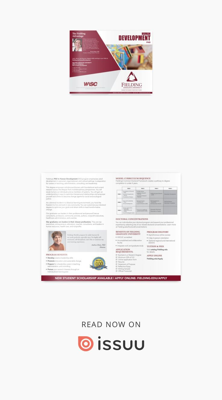 PhD, Human Development Program Brochure in 2020
