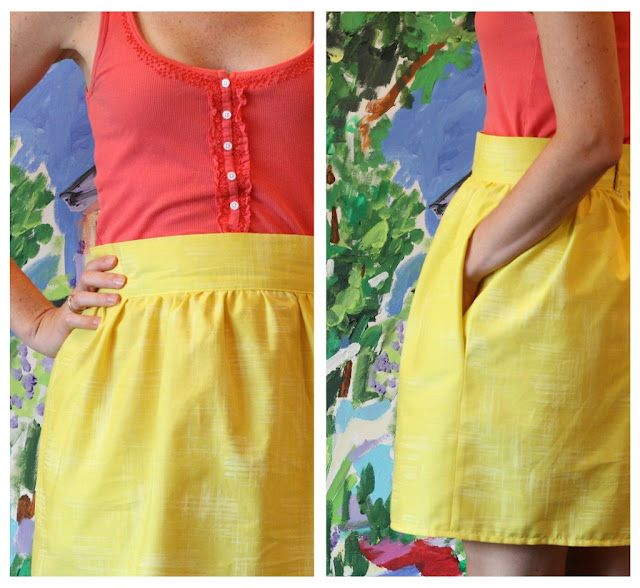DIY: Gathered Skirt with Waistband. Explains how to create a gathering stitch on a sewing machine. The measurements are kind of confusing.