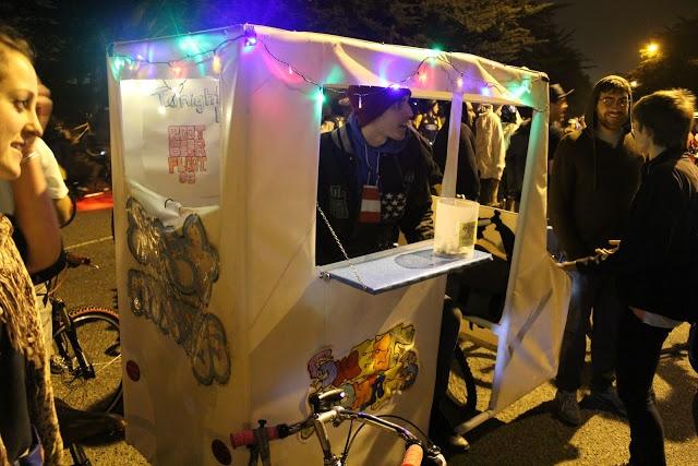 East Bay Bike Party food vending from bike
