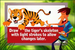 Drawing a cartoon tiger