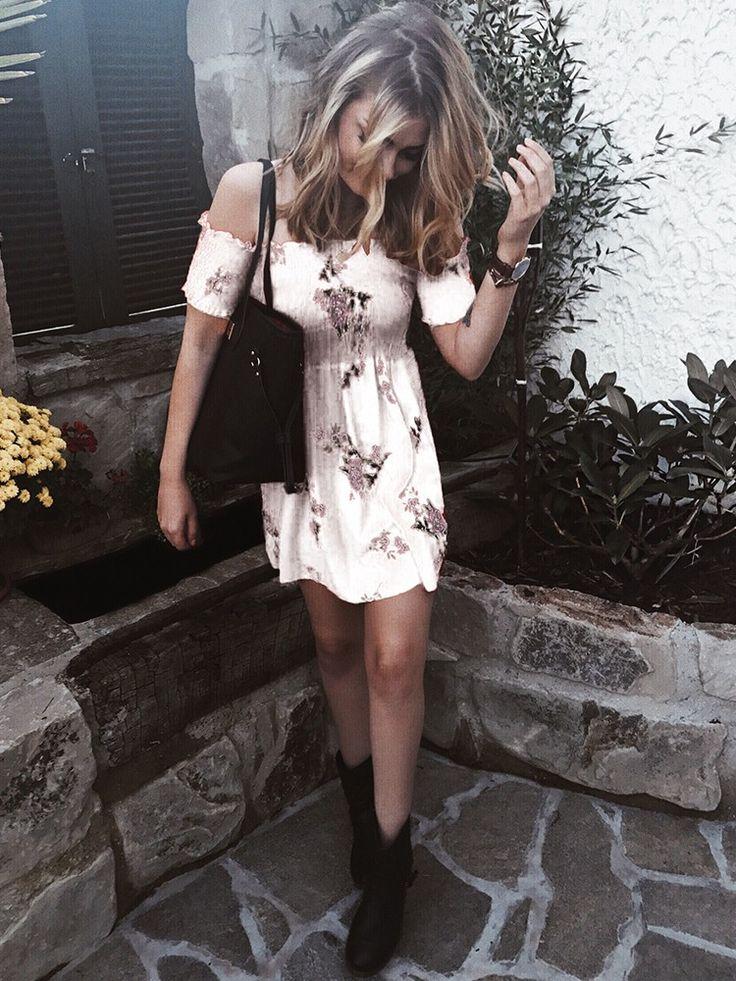 Shop Mini vestido Floral Print Shirring Off Shoulder Pleated Mini Dress