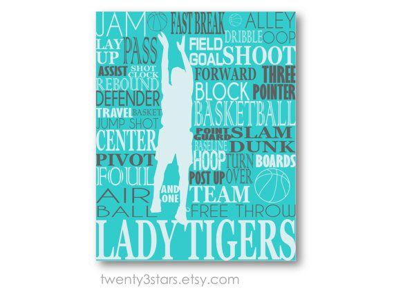 Girl's Basketball Typography Art Perfect Gift by twenty3stars, $10.00