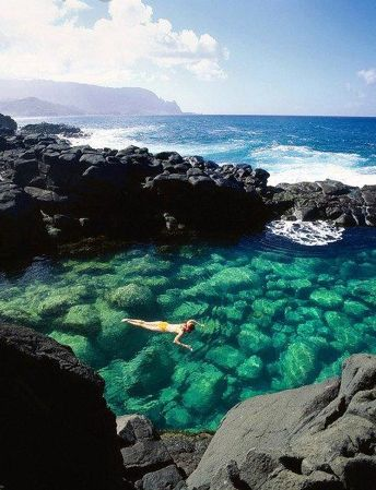 Queens Bath - Kauai, Hawaii. Went snorkeling here when I was 7 months preggo with Evan. Probably not the smartest thing, but it was cool!!