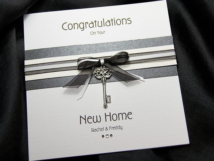 Kensington is a stylish & chic handmade new home card. This card features two colour schemes and features a beautiful metal key charm. The key is suspended from a beautifully double hand tied ribbon, sat above a banded purple and white sparkle board. The bottom sentiment is decorated with a trio of small crystals to add that extra sparkle.You can personalise this card to your own wording (please see boxes above). If you choose not to enter your own wording then the standard message of…