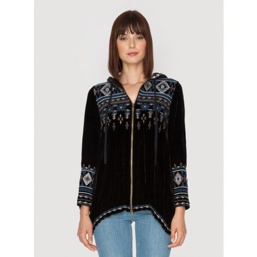 Tina Velvet Hoodie Choose the JWLA TINA VELVET HOODIE for a luxe boho take on the staple zip-up hoodie sweater! Cut in our signature plush velvet and adorned by a geometric embroidery design along the front, back, and sleeves, this velvet jacket is sure to be a unique addition to your wardrobe!  - Velvet - Hood, Zipper Front, Long Sleeves - Signature Embroidery - Care Instructions: Dry Clean Only