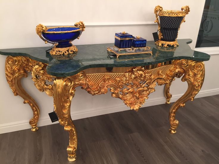 Badari Hermitage Consolle, 24k Gold with Guatemala Green Marble Top