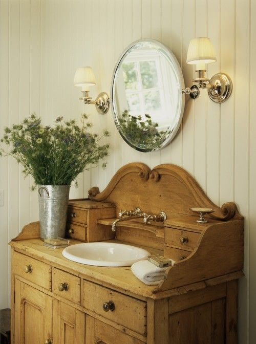Antique washstand in bathroom.Bathroom Design, Farms House, Country Cottages, Vintage Bathroom, Old Dressers, Bathroom Vanities, Bathroom Ideas, Bathroom Sinks, Contemporary Bathroom