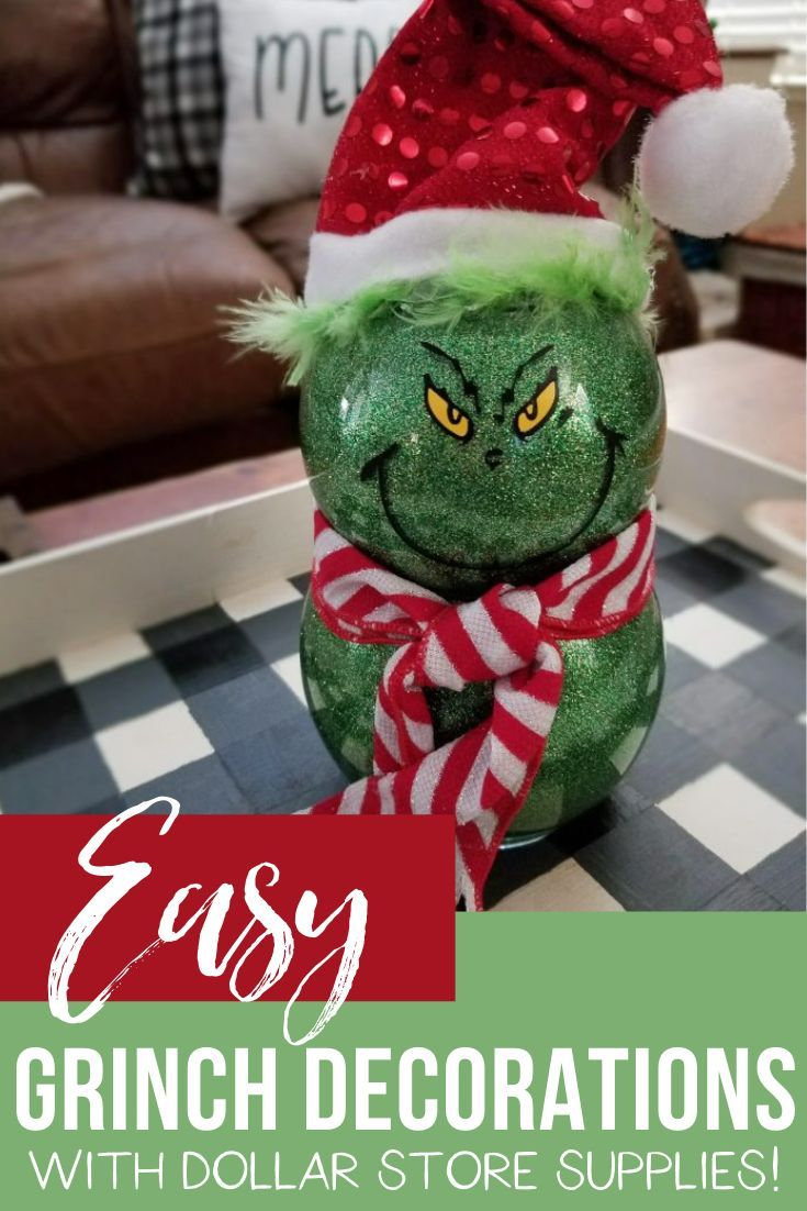 Grinch Decorations Cute And Using Dollar Store Supplies Grinch Decorations Dollar Store Christmas Crafts Dollar Store Christmas