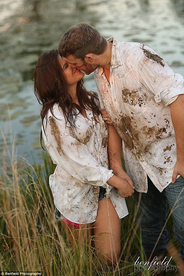 'An old fashioned mud fight!' Amy Duggar and fiancé Dillon King got muddy and messy during...