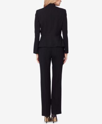 Tahari Asl Petite Zip-Up Peplum Pantsuit - Black 0P