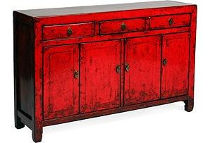 Vintage Three drawer Red Buffet-One Kings Lane