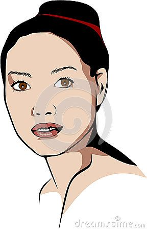 Colored vector illustrations without a make-up Asian woman who wears a bun.