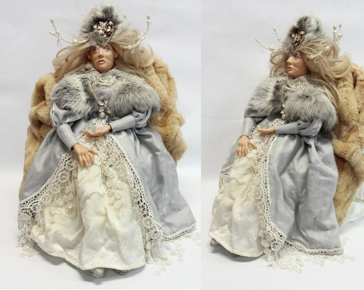 SNOW QUEEN DOLL, ooak doll, art doll, fairy tale doll, handmade home decor, evil woman, winter home decoration, holiday gift, christmas deco by LalkowniaDolls on Etsy