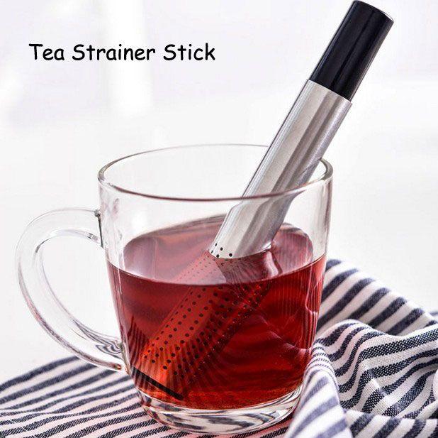 2pcs/lot Stainless Steel Pipe Design Tea Strainer Stick Mesh Tea Filter Teapot Tools Portable Tea Infuser 16.5*2cm