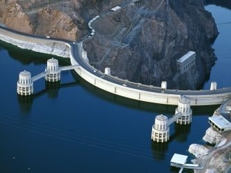 Hoover Dam at the Arizona/Nevada border.