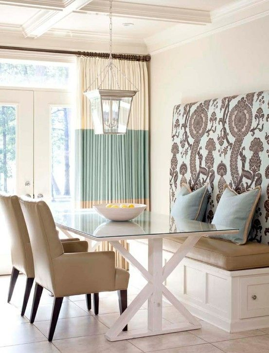 like two different fabrics, also high back Bench seat for kitchen - like the padded back - hang with a cleat so it's easy to change fabric