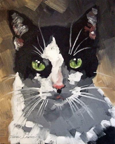 """Tuxedo Cat Portrait"" - Original Fine Art for Sale - © Diane Irvine Armitage"