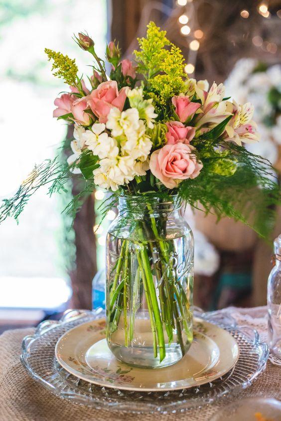 Pink Alstroemeria and Rose Centerpieces / http://www.himisspuff.com/rustic-wedding-centerpiece-ideas/18/
