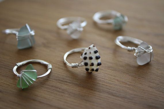 Sea glass and Shell Wire Wrapped Rings by happicrafts on Etsy, $20.00
