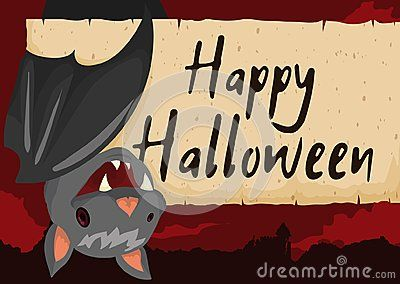 Poster with cute hanged bat smiling at you in a spooky night view with greeting message in a scroll for a happy Halloween celebration.