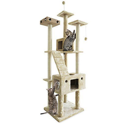 Tough Cat Tree Tower Scratcher Furniture Play Center Kittens Kitty 70'' High   #FurhavenPet