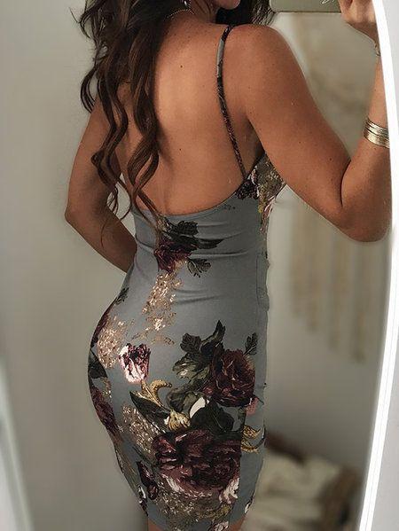 Grey Backless Design Random Floral Print V-neck Dress