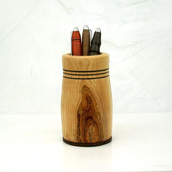 Wooden Pencil Holder, Wood Pencil Cup, WILSON, Wooden Pen Cup for Desk, Wood Desk Organizer