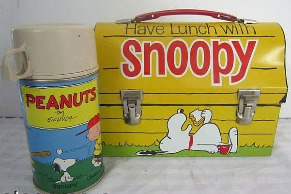 Snoopy Vintage Lunch Box & Thermos  (Antique Peanuts Metal Lunchboxes & Thermoses)