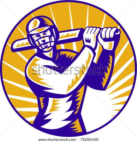 vector illustration of a cricket batsman batting front view  done in retro woodcut style set inside circle - stock vector #cricket #woodcut #illustration