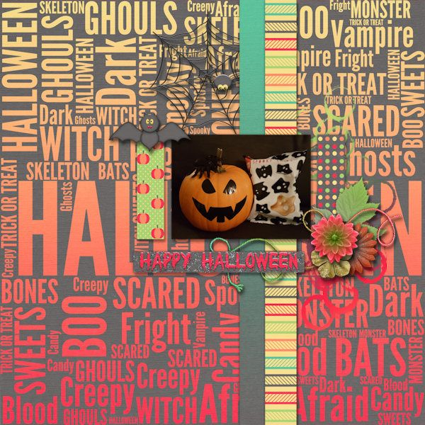 Happy Halloween - Digital Scrapbooking Layout I created using Trick or Tweet and September 2016 Template Pack both by Designs by Romajo at With Love Studio and Scrappy Bee. I love the straight lines of the template and the colorfull papers and halloween themed elements and flowers in this kit.