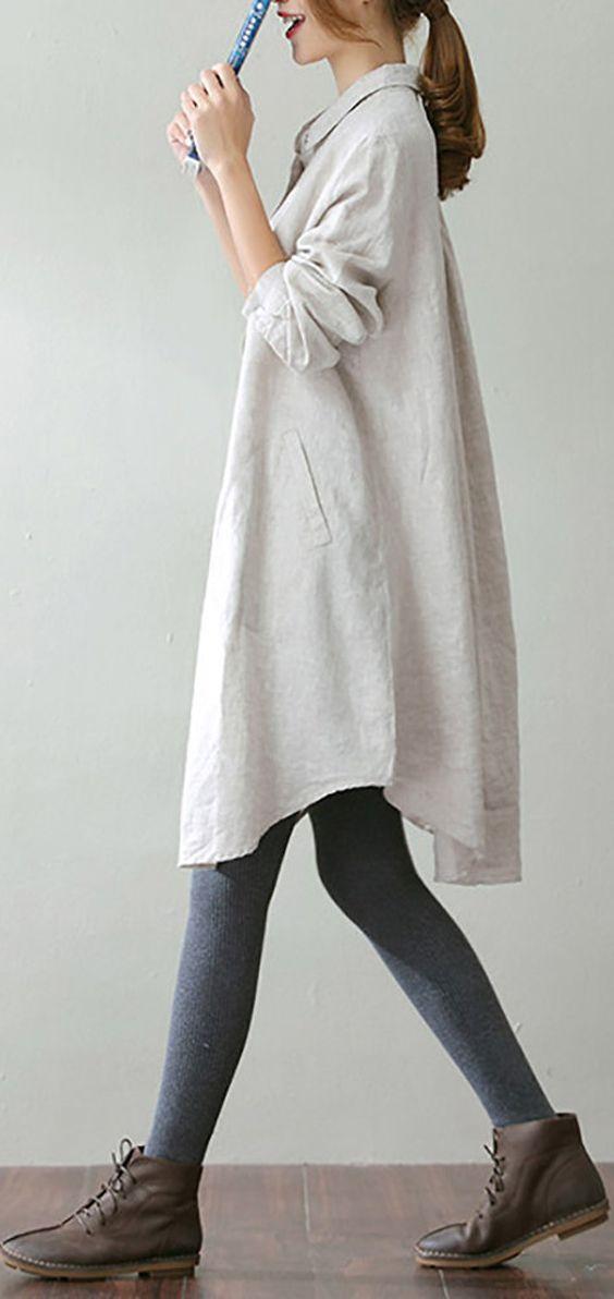 O-NEWE Vintage Lapel Pocket Shirt Dress For Women #fashion #style #fall #winter