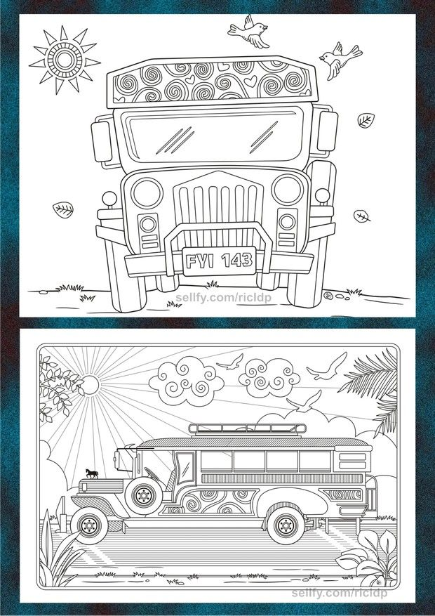 Philippine Jeepney Coloring Pages Set 2 Jeepney Coloring Pages Philippine Art