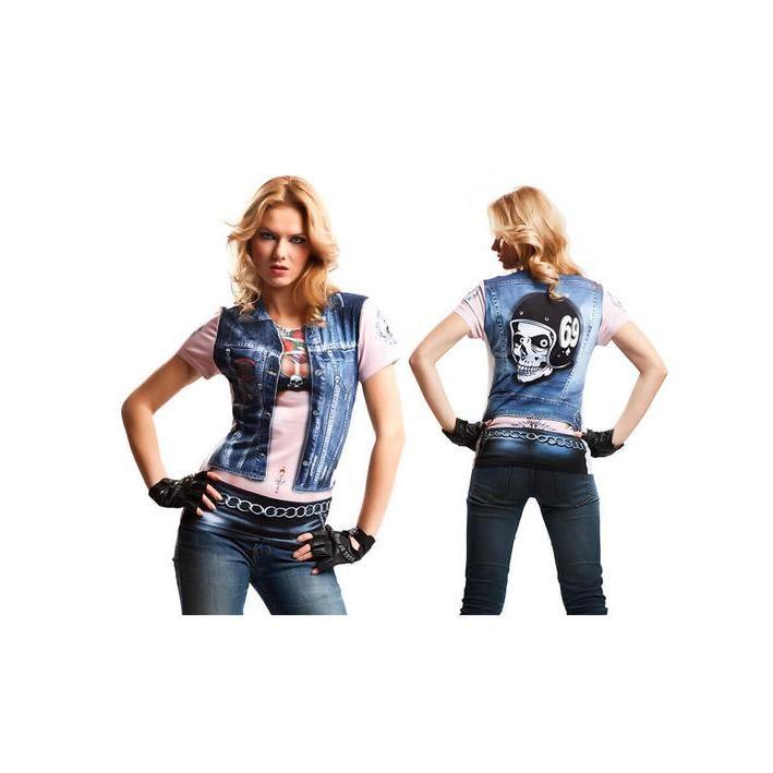 Disfraz camiseta de motera heavy para mujer