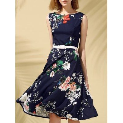 Floral Print Fit and Flare Midi Dress $15.14