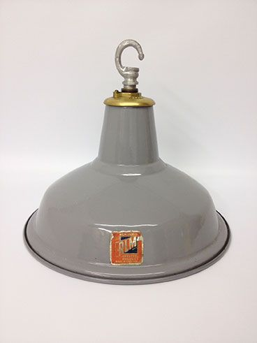 Original Vintage Grey Brass Top Benjamin Pendant Light