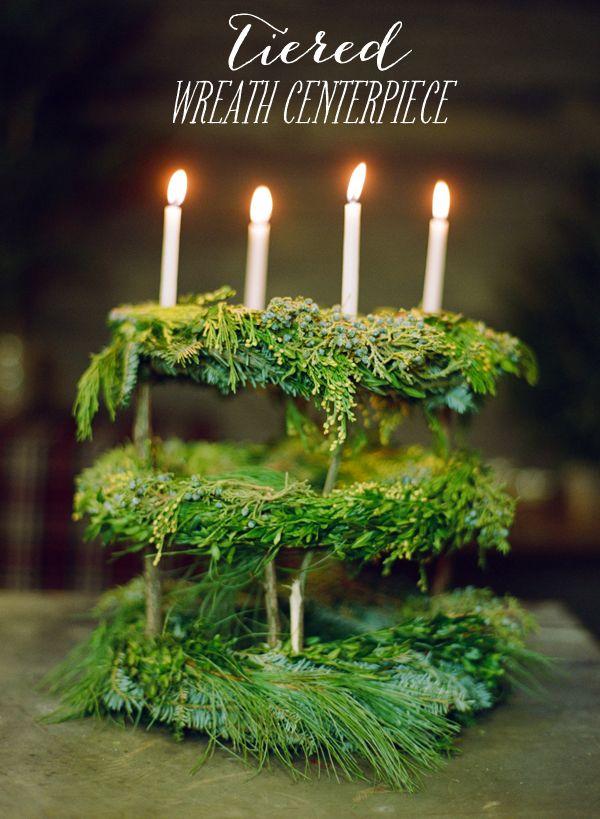 DIY tiered wreath centerpiece