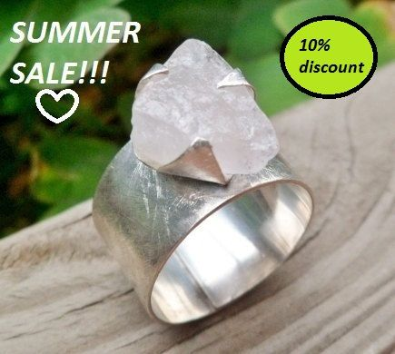 Summer Sale ...Rose quartz ring. Adjustable ring. Rough by Unics, $37.80
